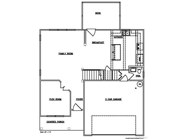 Architectural drawing of floor plans of custom designed home in Lake Wylie, SC
