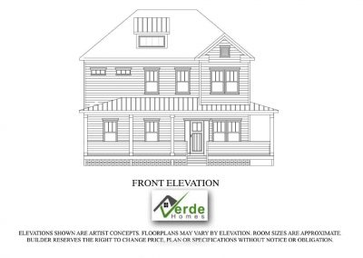 Interior rendering of architect rendering of Farmhouse Colonial custom designed home.