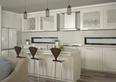 Interior rendering of custom home with Contemporary and Modern design cues.