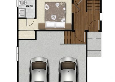 Interior image of custom rendering of authentic contemporary home design in Charlotte, NC.