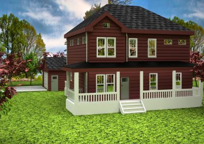 Exterior rendering of architect rendering of Farmhouse Colonial custom designed home.