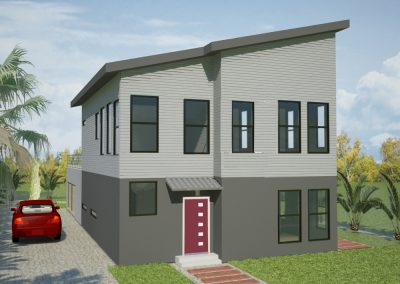 Exterior rendering of custom home with Contemporary and Modern design cues.