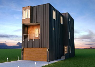 Exterior image of custom rendering of authentic contemporary home design in Charlotte, NC.